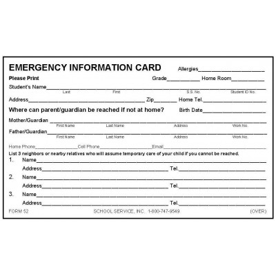 52 - New Emergency Card w/Medication - 3 x 5 Size
